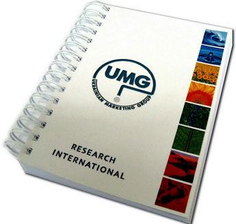 notebook/Notebook «UMG»: Cover is a digital printing. Inside there is one color offset printing. Stitching 2:1.
